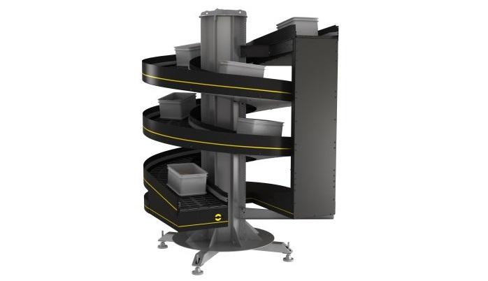 El elevador Spiral Lift de Interroll permite a los usuarios finales un uso óptimo del espacio al ser vertical.