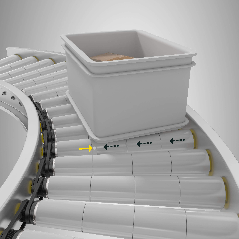 Rodillos cónicos de Interroll para la instalación de curvas en transportadoras
