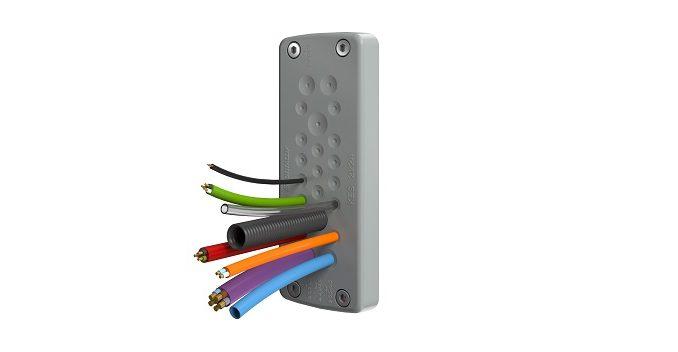 El sistema compacto de paso de cables KES sin tornillos de CONTA-CLIP
