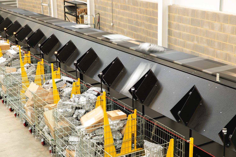 El clasificador Crossbelt Sorter de Interroll aumenta la capacidad logística de Skynet