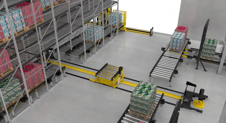 Interroll completa la plataforma de transporte modular de paletas MPP con el transelevador y el carro transfer