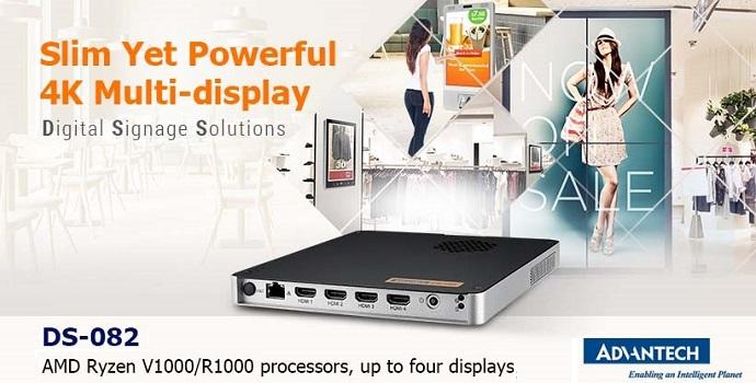 Advantech presenta el nuevo reproductor digital DS-082, altas prestaciones, 4K y formato plano
