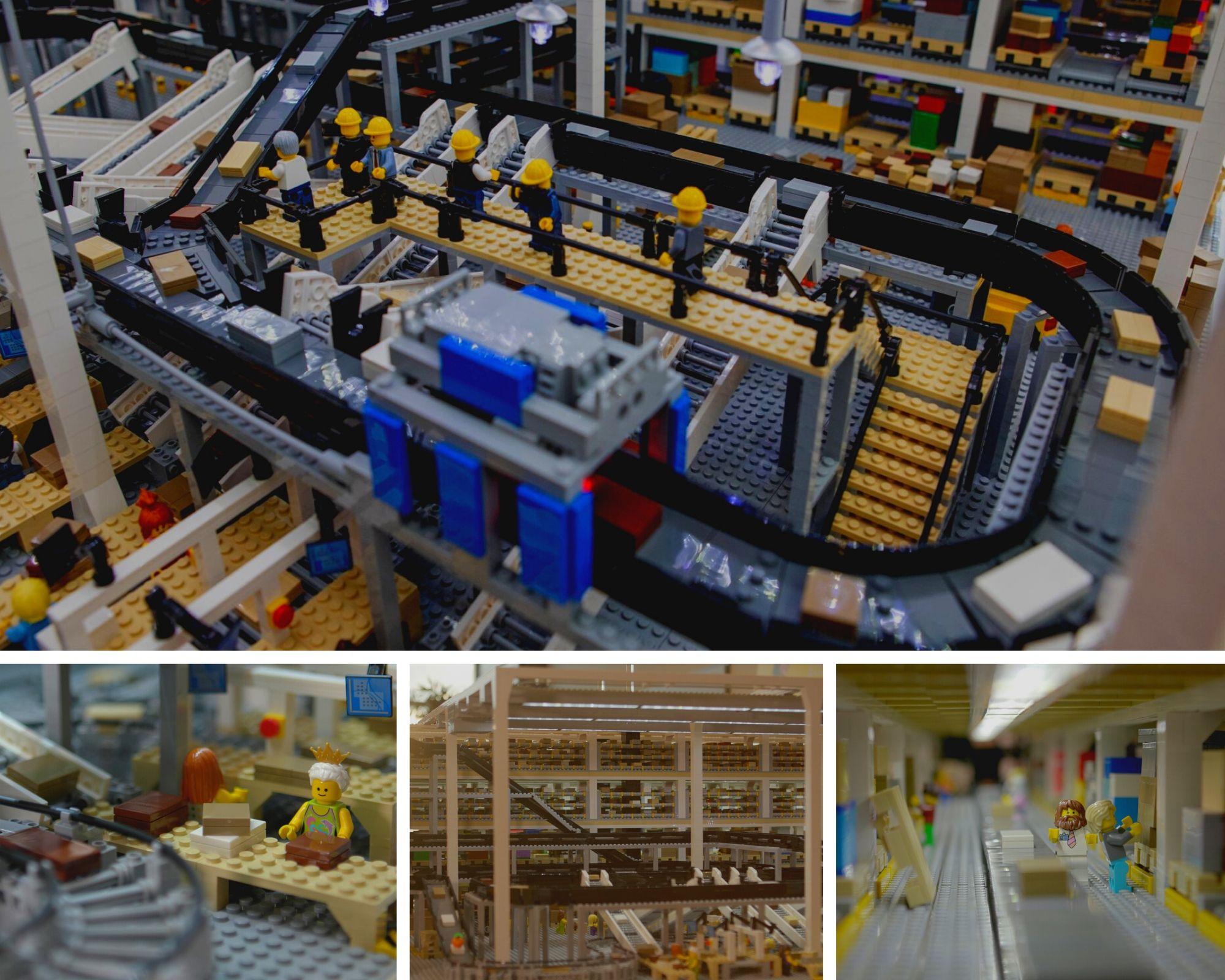 El flujo de materiales de Interroll perfectamente reproducido en miniatura con piezas de LEGO®