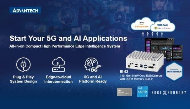 EI-52 potencia aplicaciones edge con IA y 5G mediante el sistema de inteligencia edge de 11ª generación impulsado por Intel® de Advantech