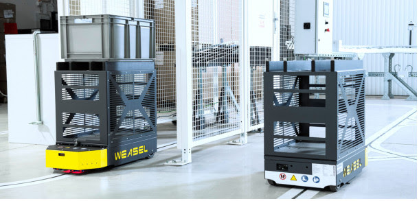 SSI Schaefer lanza WEASEL® Lite, el vehículo de guiado automático de fácil implementación para el transporte interno de cargas pequeñas